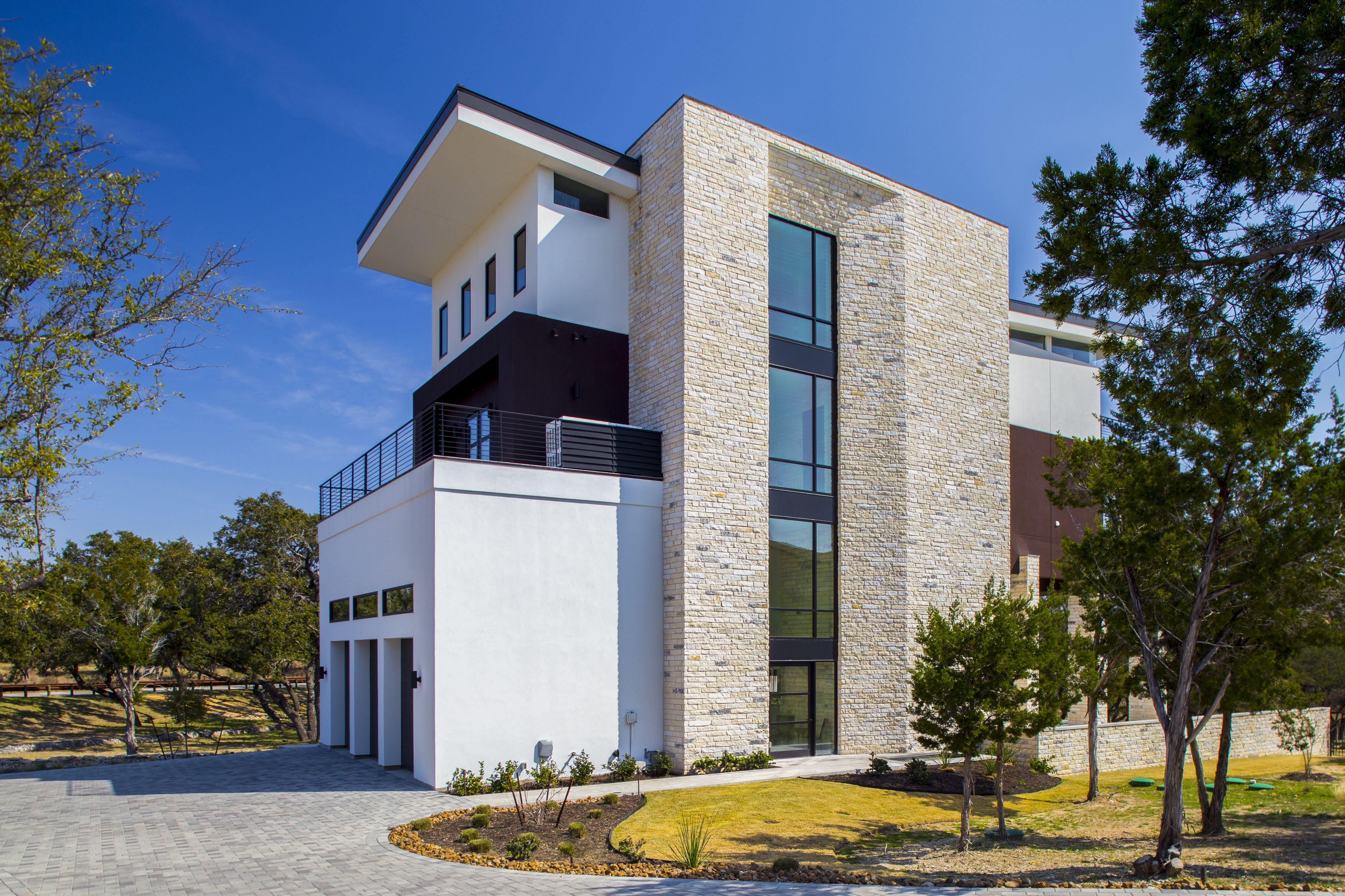 Contemporary Home Exterior Features Stone \u0026 Stucco   HGTV   house ...