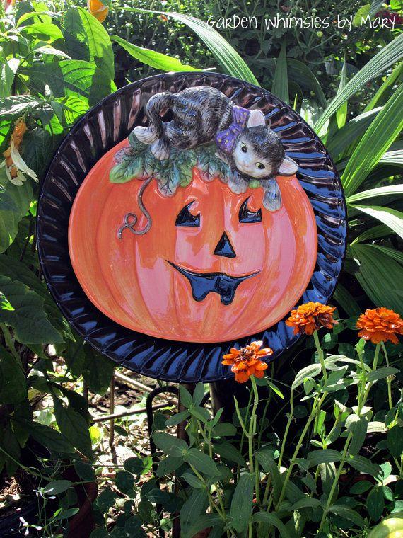 Halloween Jack O' Lantern with Cat Garden by GardenWhimsiesByMary, $30.00