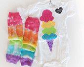Rainbow Ice Cream Cone Onesie with Rainbow Tie Dyed Baby Leg Warmers