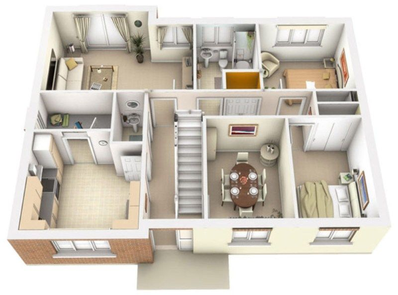 Interior Plan Houses 3d Architecture Interior Plan