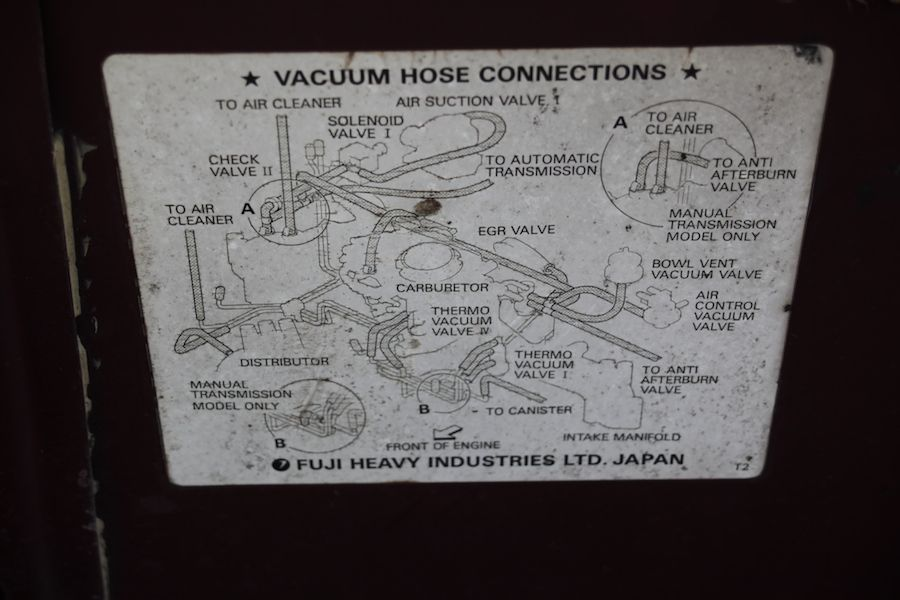 Vacuum Hose Connection Diagram From Under The Hood Of A 1986