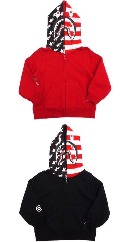 d5104a87777 Bape Kids American Shark Full Zip Hoodie