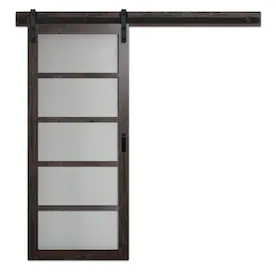 Reliabilt Espresso Prefinished 1 Panel Mdf Barn Door Hardware Included Common 34 In X 80 In Actual 36 In X 84 In At Low In 2020 With Images Glass Barn Doors Barn Door Hardware