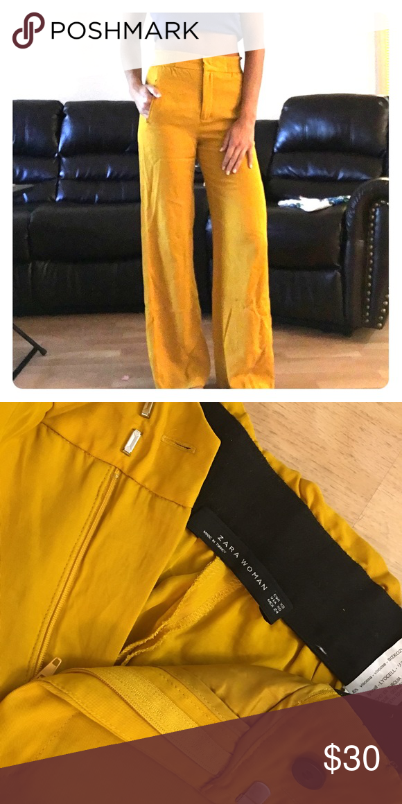 2bbbd30cb8 Zara High Waist Trouser Wide leg, great mustard color for fall ...