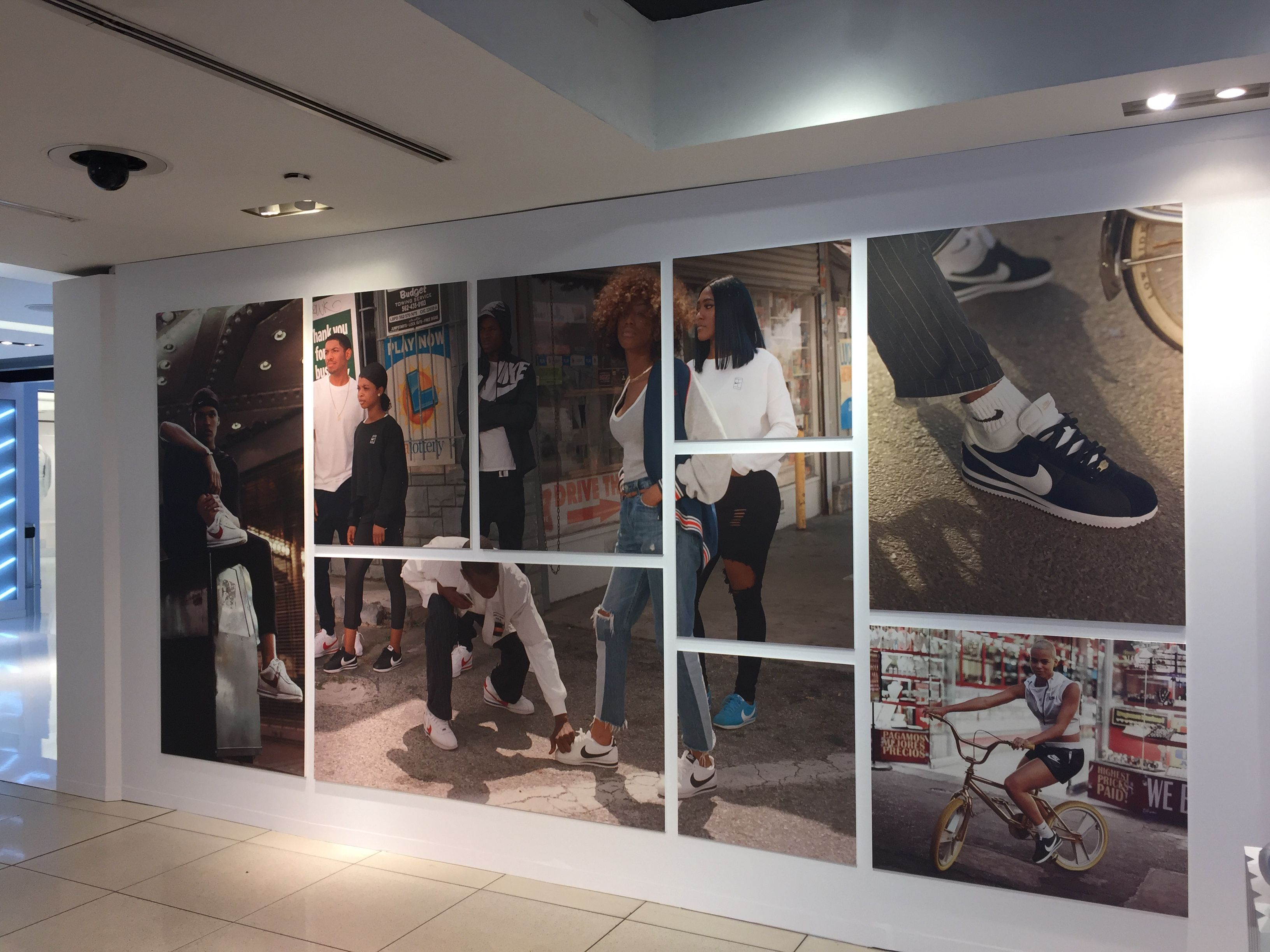 Retail interior  Nike Store NYC. Large graphic montage