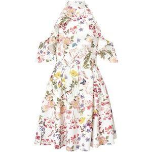 Miss Selfridge Printed Cold Shoulder Dress, Multi