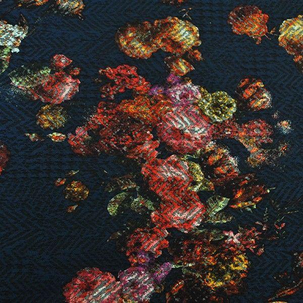 Polyester viscose Jacquard Bloem donkerblauw