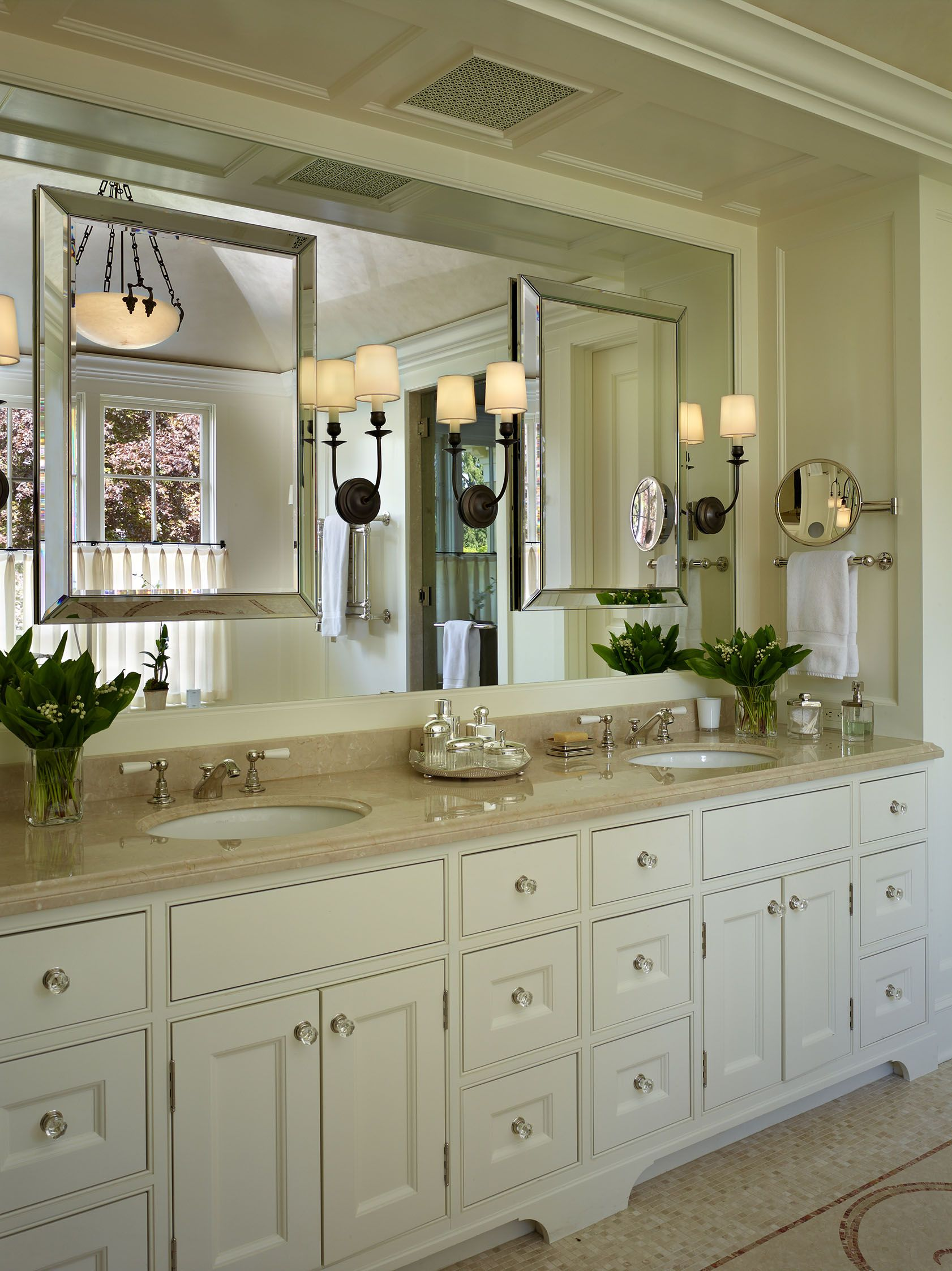 traditional bathroom vanities with double sink and circle mirror | A Traditional master bath vanity, designed by Stuart Silk ...