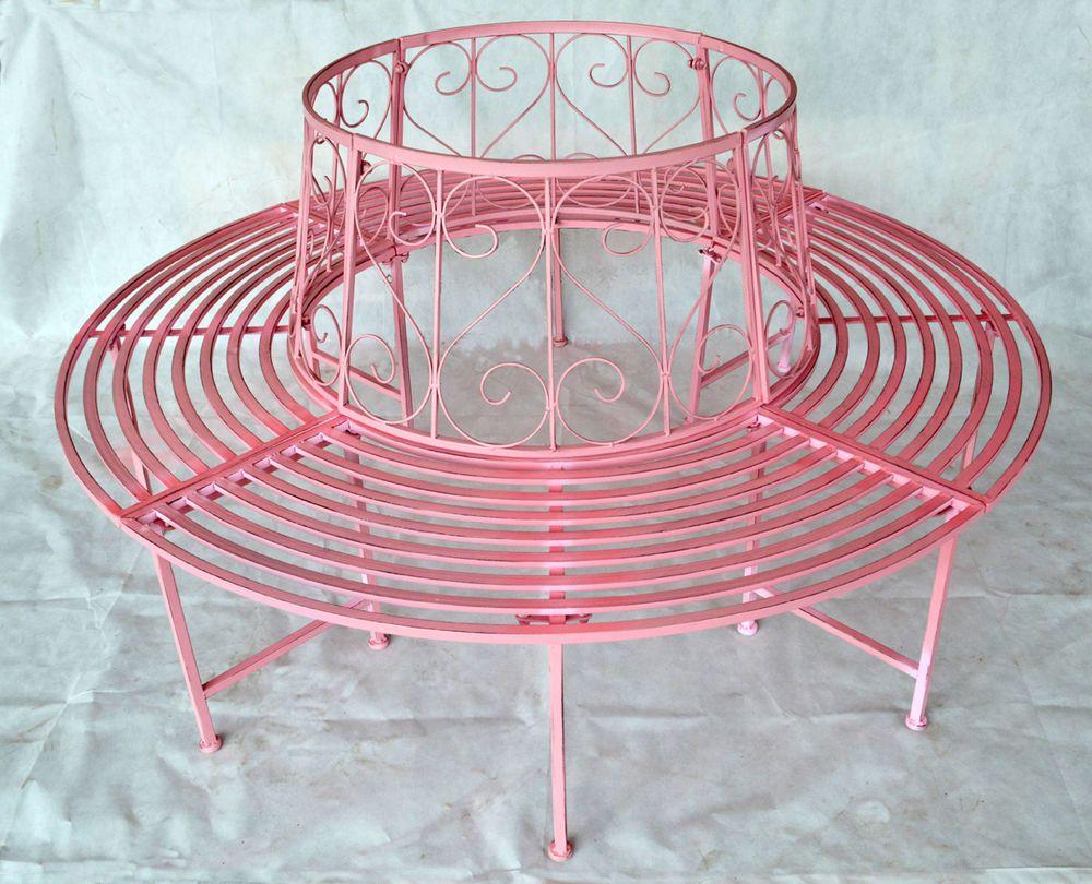 Details zu Gartenbank Rundbank Baumbank Bank aus Metall Pink 506156 ...