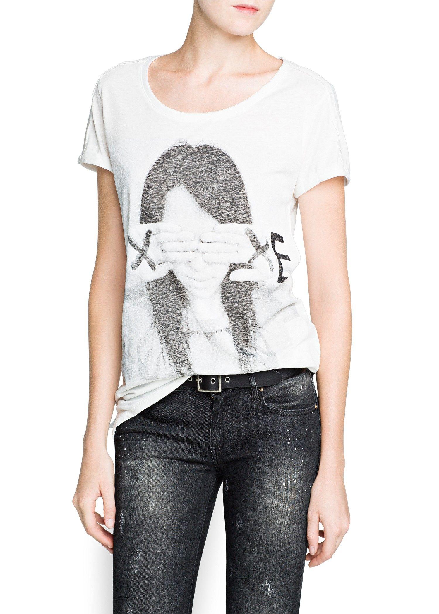 Camiseta algodón flamé imagen - Mujer - Mango España ...