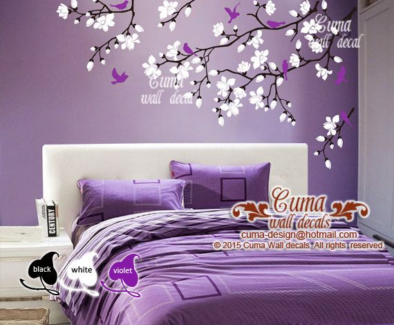 Cherry Blossom Wall Decals Violet Nursery White Flowers Vinyl Wall Decal Tree Birds Wall Sticker K Vinyl Tree Wall Decal Purple Living Room Wall Stickers Kids
