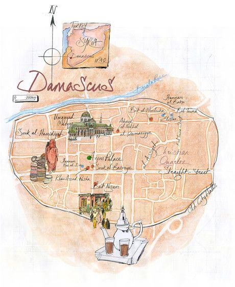 Jane Webster - Map of Damascus | Damascus map, Illustration, Map on baghdad map, amman jordan map, tel aviv, arabian sea map, golan heights map, bashar al-assad, rome italy map, damascus citadel, tunis tunisia map, pakistan map, world map, beirut lebanon map, ancient damascus map, asma al-assad, tripoli lebanon map, mid east map, middle east map, jerusalem map, damascus oregon map, kabul afghanistan map, istanbul map, algiers algeria map, bahrain map, damascus steel,