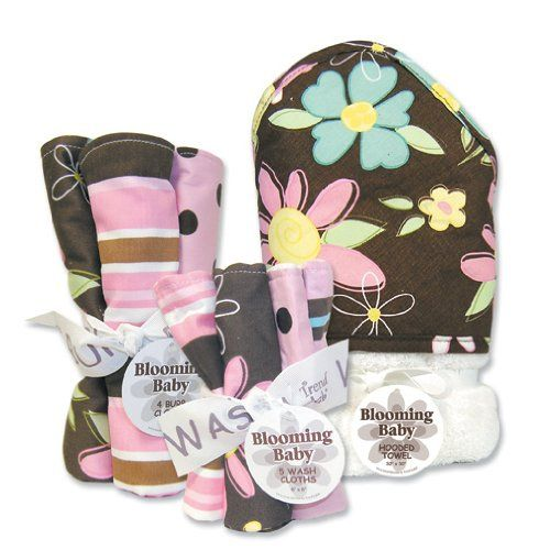 "$42.95-$41.95 Baby Trend Lab Blossoms 3pc Baby Set w/ Hooded Bath Towel, Wash Cloths, Burp Cloths - Blossoms Blooming Bouquet 3 Pc Set includes 1 hooded towel, a 5 pack of wash cloths, and a 4 pack of burp cloths. Fun modern prints on one side, terry on the other-hooded towel size 32"" x 30"", wash cloth size 8"" x 8"", burp cloth size 13"" x 10"". http://www.amazon.com/dp/B00591H69S/?tag=pin2baby-20"