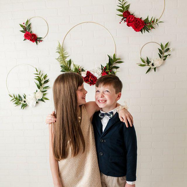 Photo of Floral Wreath – Neutral Wreath – Minimalist – Wedding Flower Hoop – Nursery Decor – Floral Background – Gold Metal Ring Wreath – Boho
