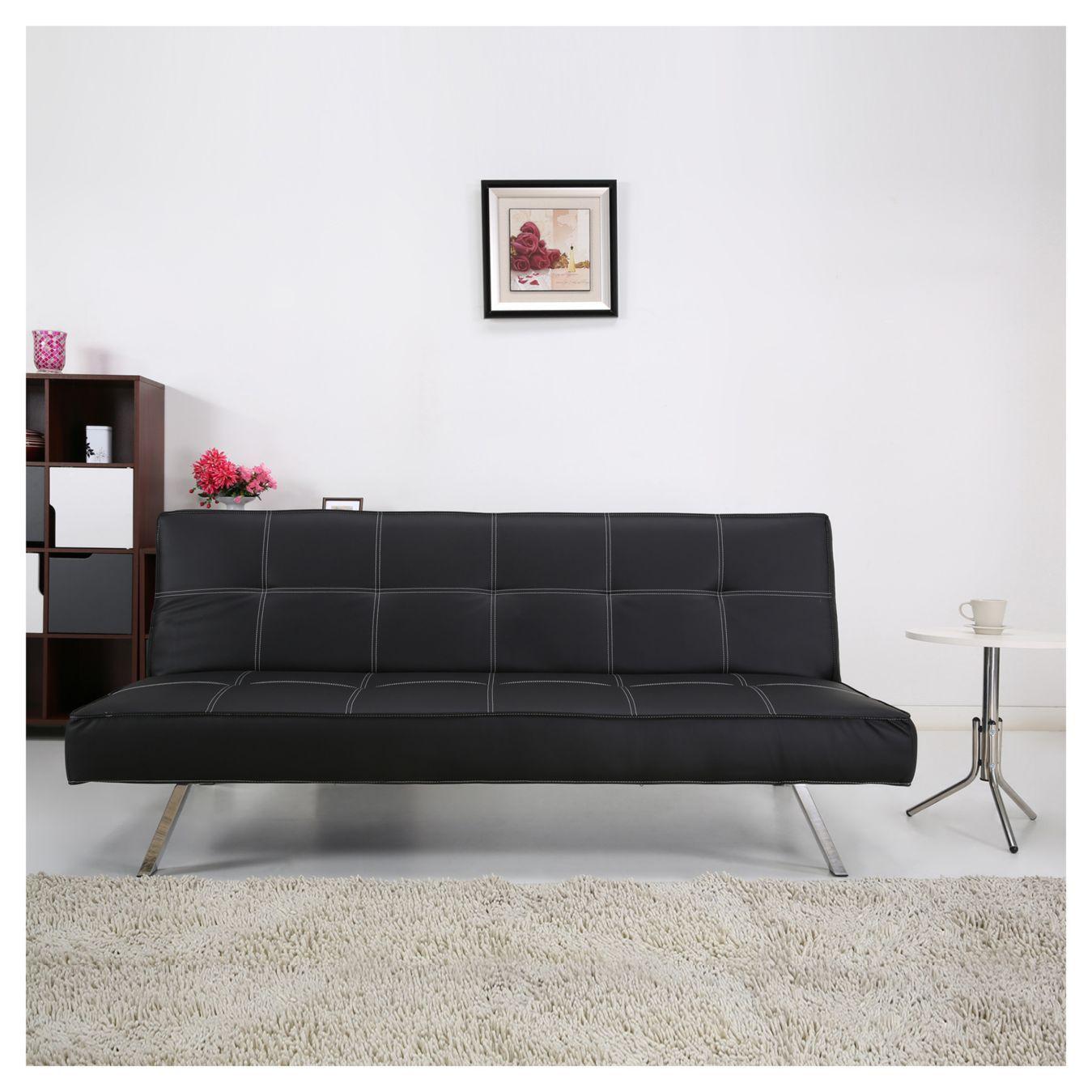 Home Collection Futón 76x91x180 cm negro | Hogar