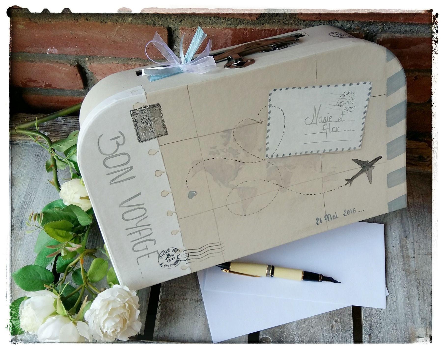 valise pour urne de mariage bon voyage petit mod le menu pinterest urne de mariage. Black Bedroom Furniture Sets. Home Design Ideas