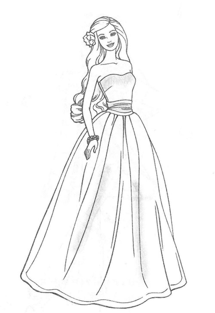 Coloring pages barbie dresses for girls