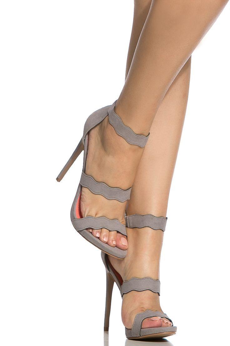 0ecbf6b7d599 Grey Faux Suede Scalloped Single Sole Heels   Cicihot Heel Shoes online  store sales Stiletto Heel Shoes