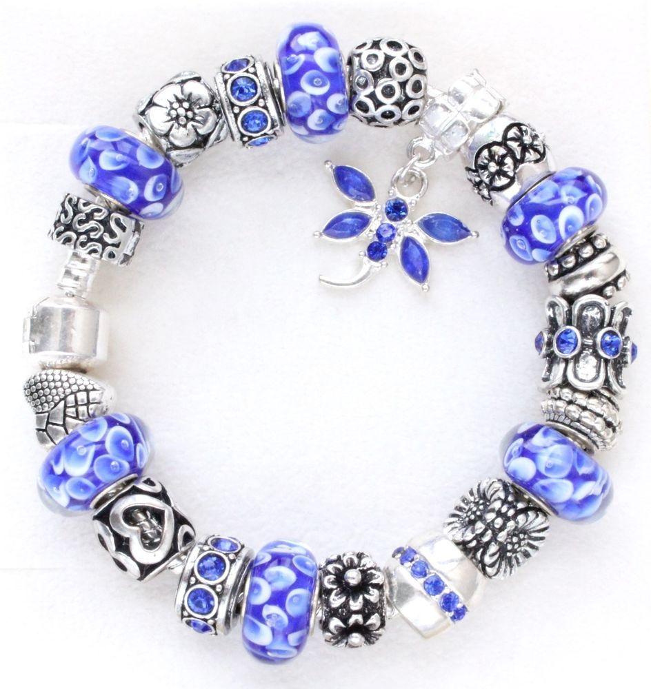 European charm bracelet blue flowers murano beads charms charm european charm bracelet blue flowers murano beads charms charm bead charm jewelry pandora bracelets izmirmasajfo