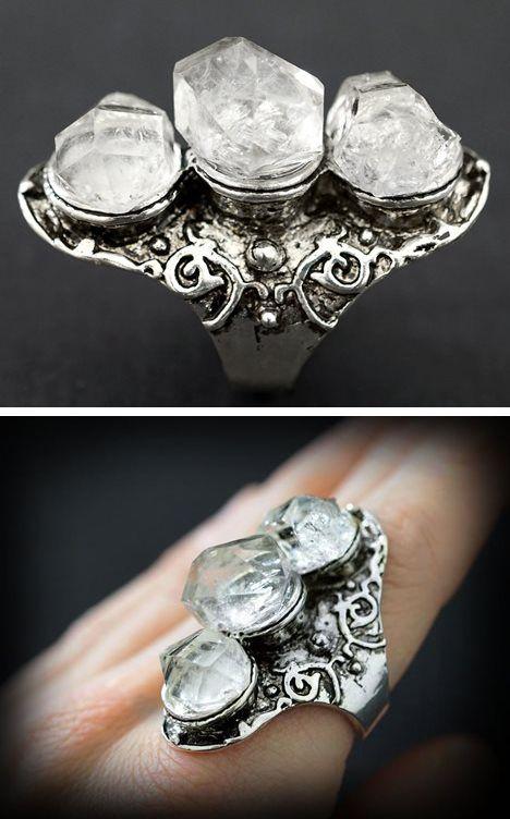 RAW HERKIMER DIAMOND Ring - 3 Stone Long Aged Tibet Silver