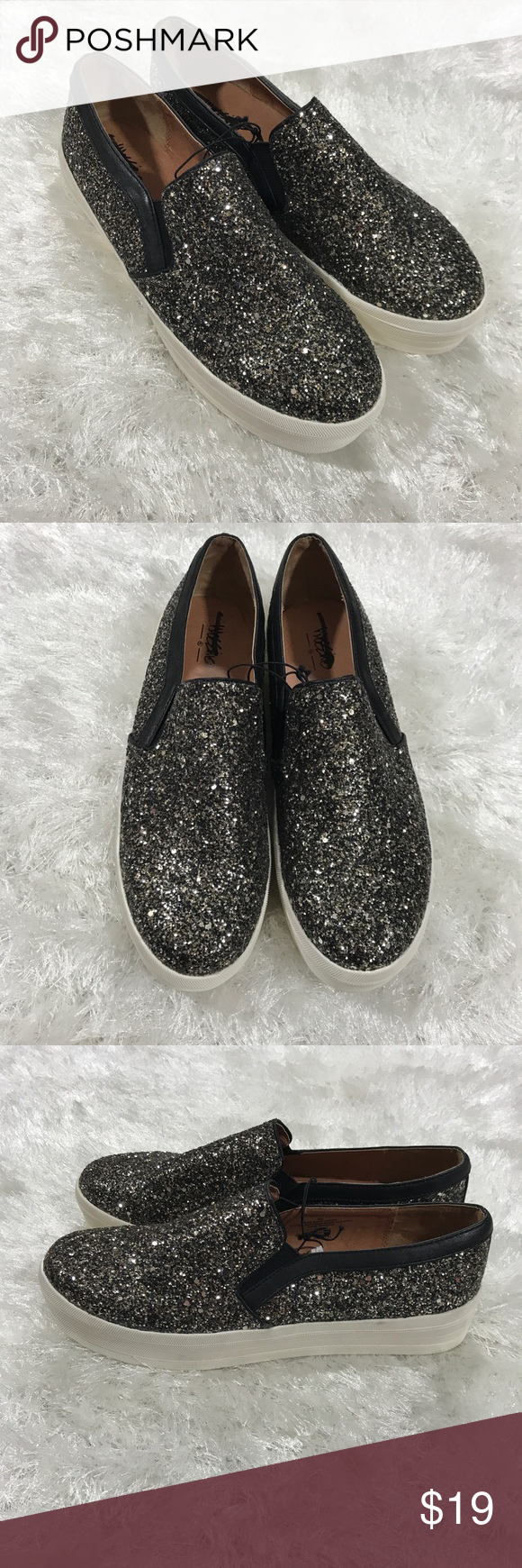 421c43eae39 Mossimo Sparkly Glitter High Platform Slip On Shoe Mossimo Sparkly Glitter  High Platform Slip On Shoes