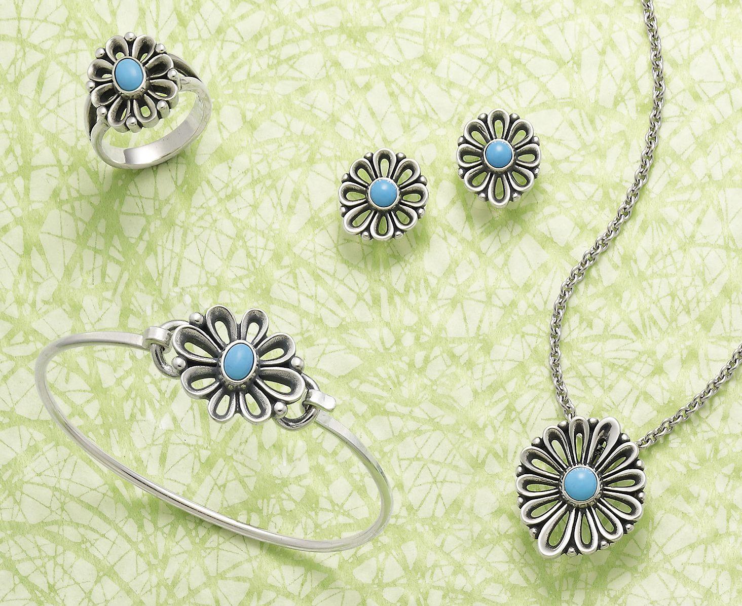 5d558772c De Flores Ring with Turquoise, De Flores Ear Posts with Turquoise, De Flores  Pendant with Turquoise (chain sold separately), De Flores Hook-On Bracelet  # ...