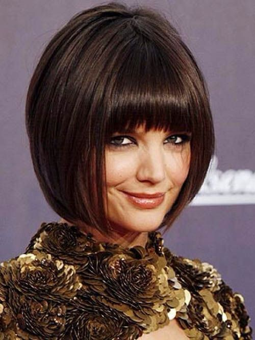 Pin By Stephanie Kay On One Length Bob Katie Holmes Hair Bob Hairstyles With Bangs Short Hair With Bangs