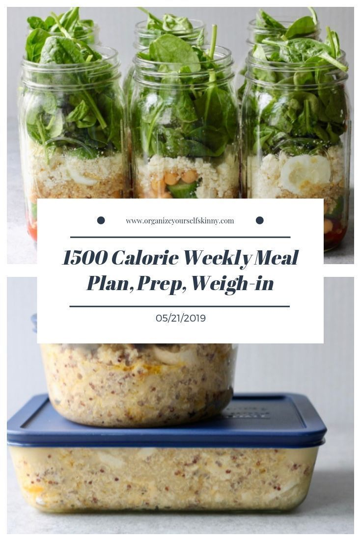 1500 Calorie Weekly Meal Plan, Food Prep, and Weigh-in {May 21st, 2019} images