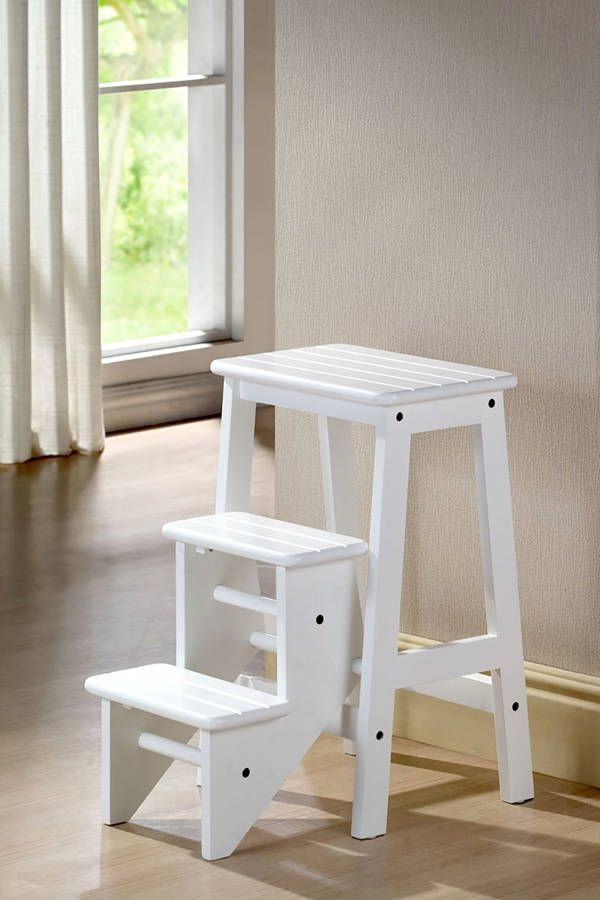 Transitional White Wood 24 Inch Step Stool