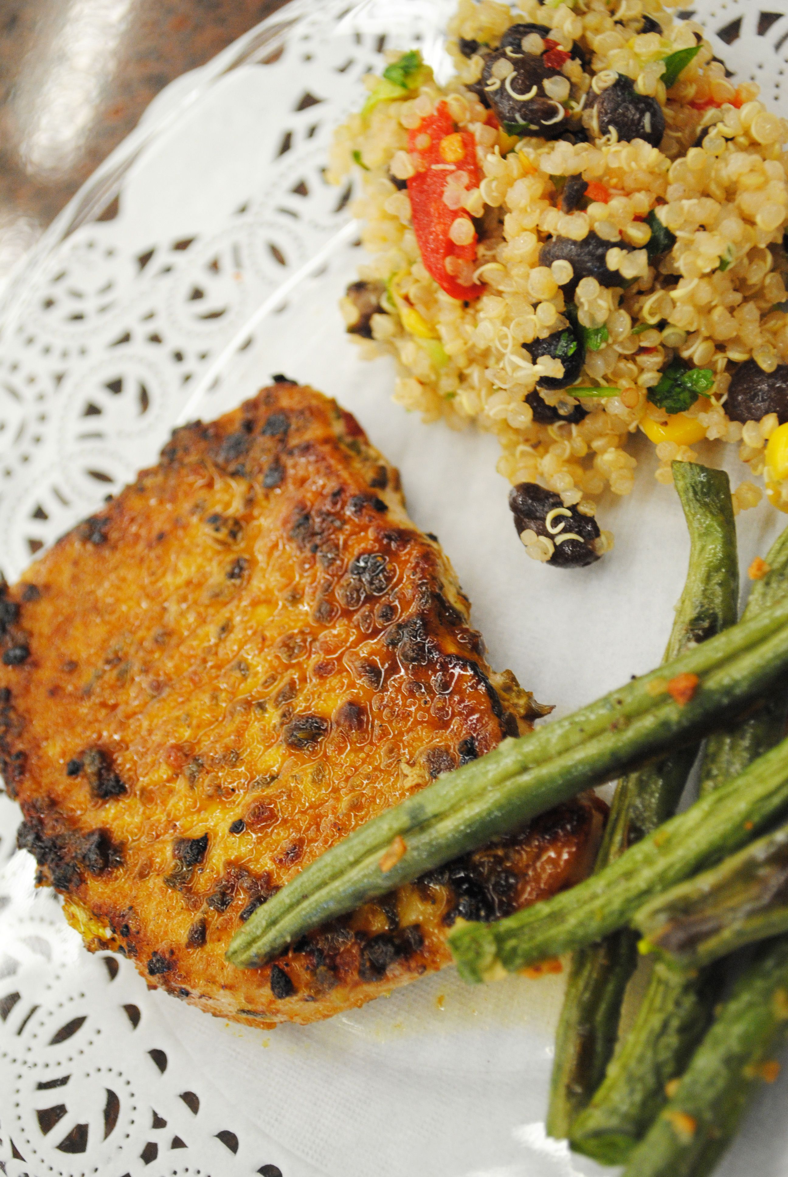 Haitian Pork Chops and Garlic Green Beans (With images