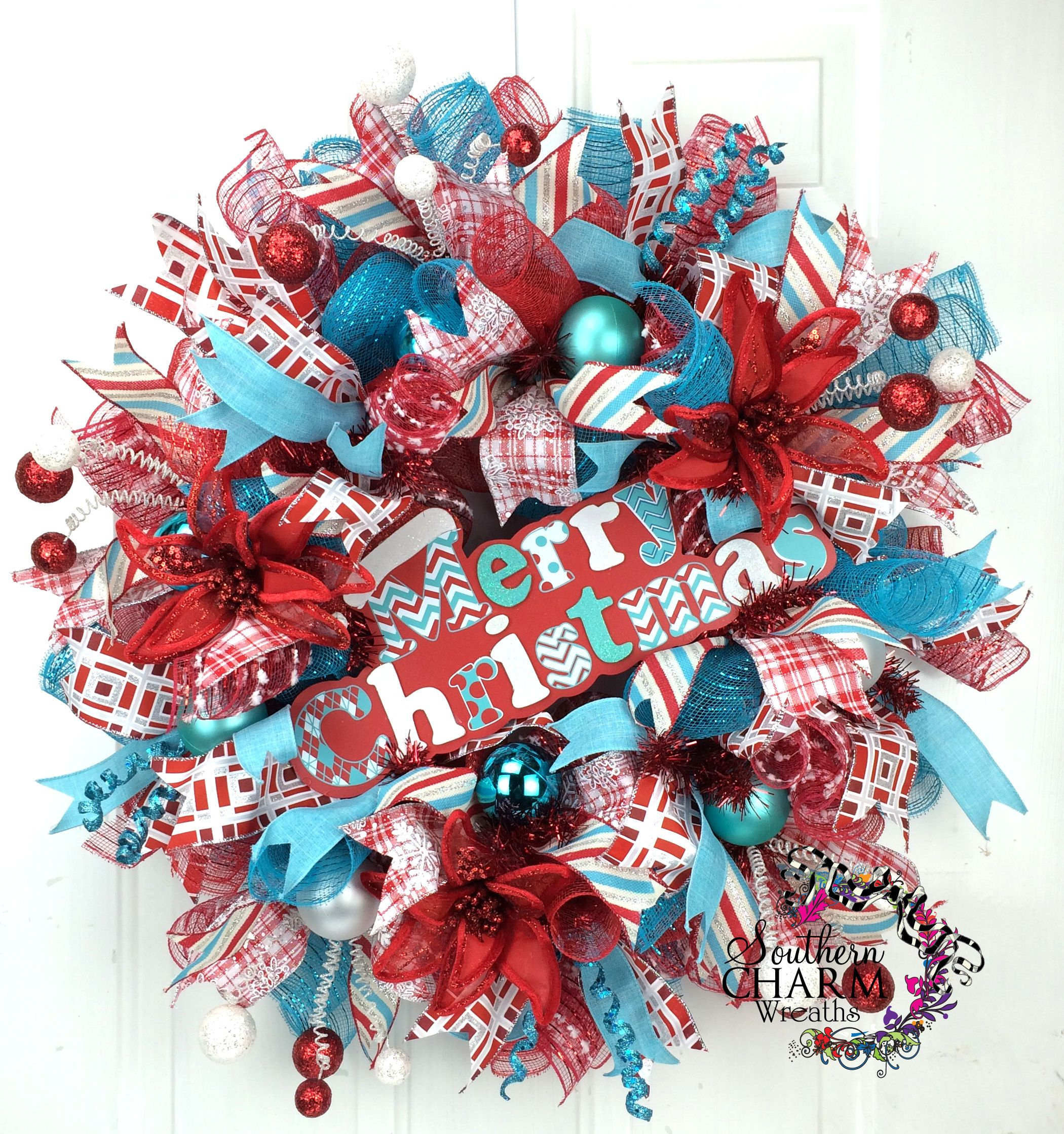 Red Turquoise Not Just For Holiday Decor: Deco Mesh Retro Christmas Wreath -Turquoise -Red