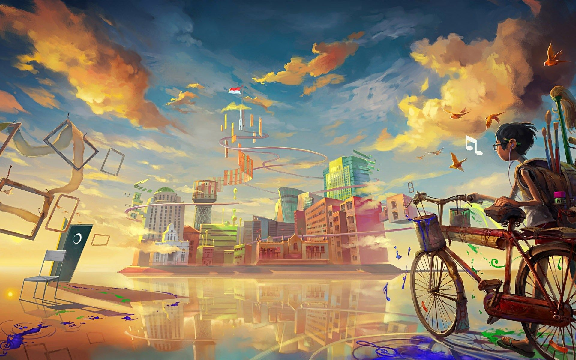 Boy Biccycle City Drawing Paint Art HD Wallpaper
