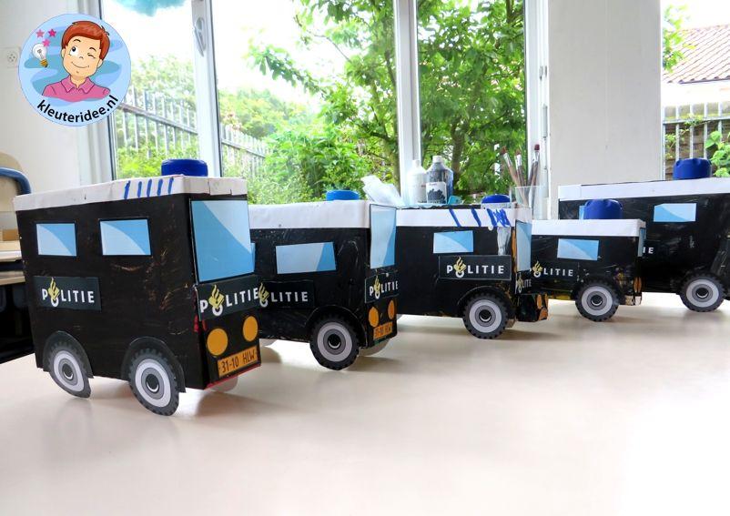 Busje van de Mobiele eenheid knutselen (ME) 3, thema politie, kleuteridee.nl, met gratis downloads