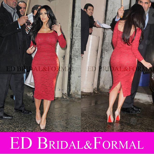 Kim Kardashian Kleid Langarm Tee Länge Rote Spitze Cocktail Party ...