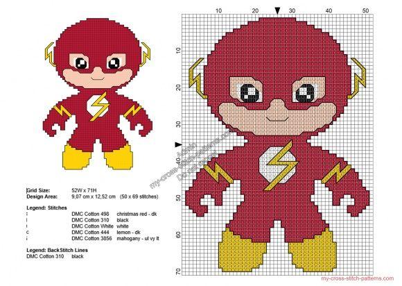 Baby The Flash free Superheroes cross stitch patterns 50x69