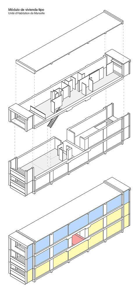 Unit d 39 habitation cite radieuse marseille 1947 52 by for Plan habitation