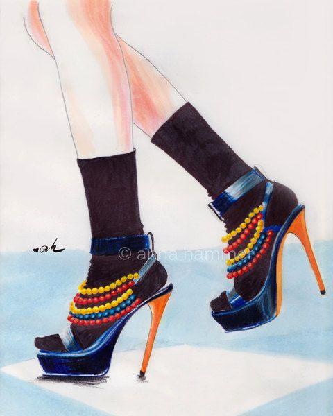 My Stilettos 8 X 10 Print of Original Fashion Illustration. $20.00, via Etsy.