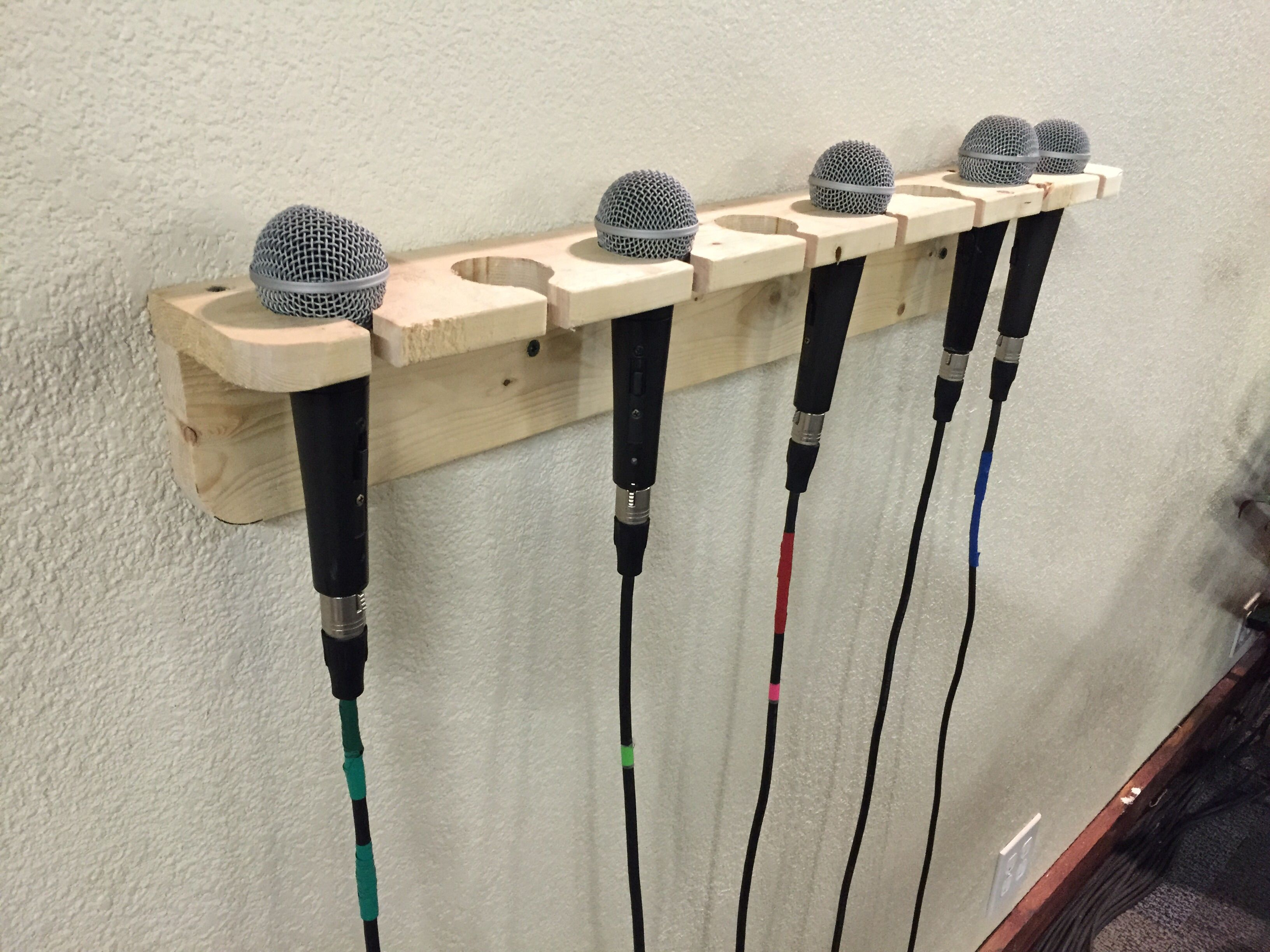 Diy Microphone Holder Better Then Having Them On The Floor Sound Room Band Rooms Home Music Rooms