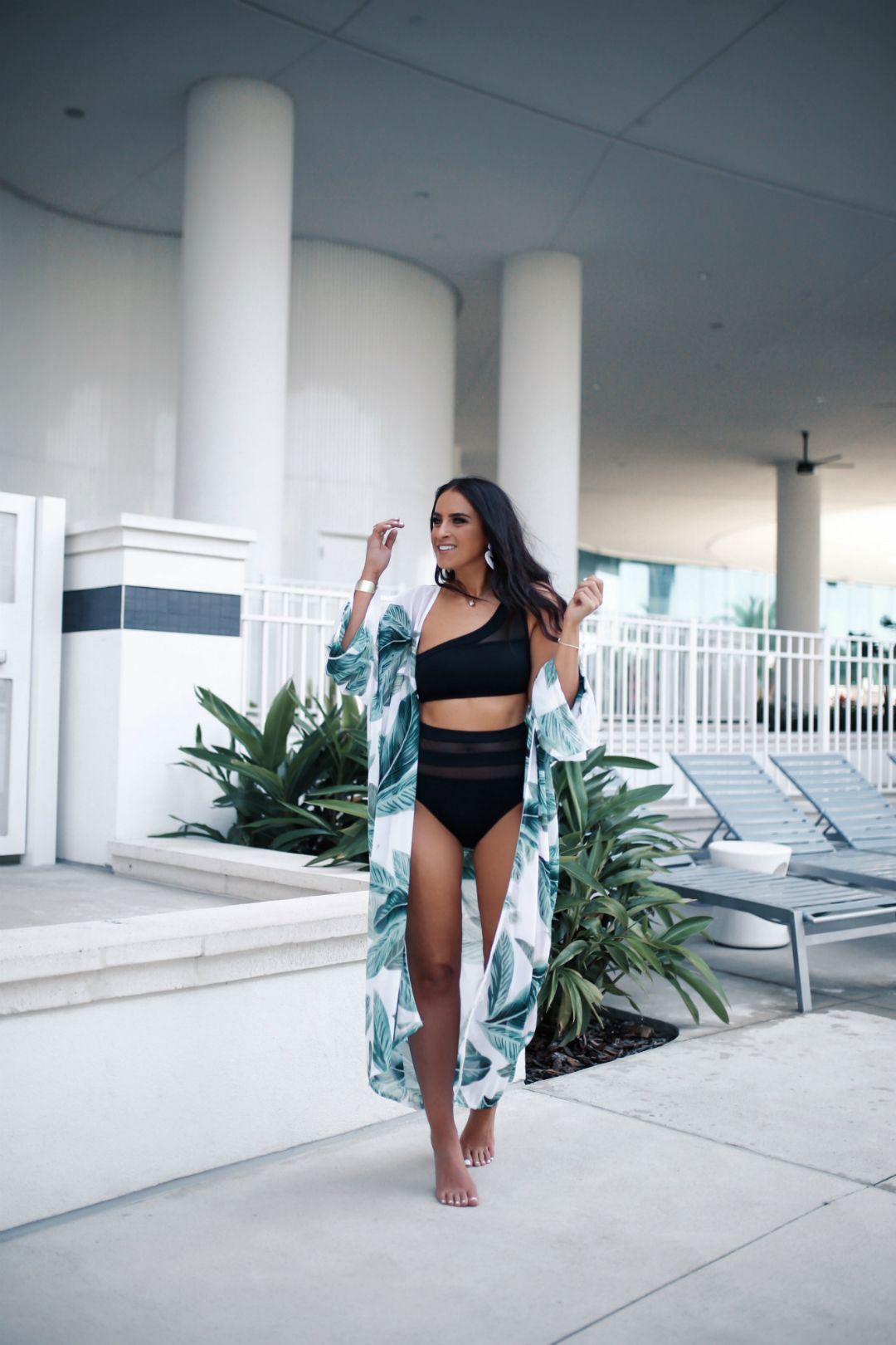 d1ccaa31c Blogger Sarah Lindner of The House of Sequins wearing 2 piece mesh black  bikini from target, chiffon palm tree cover up. Must have black bikini from  Target ...