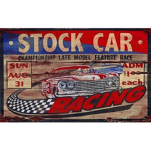 STOCK CAR RACING Vintage Wood Sign