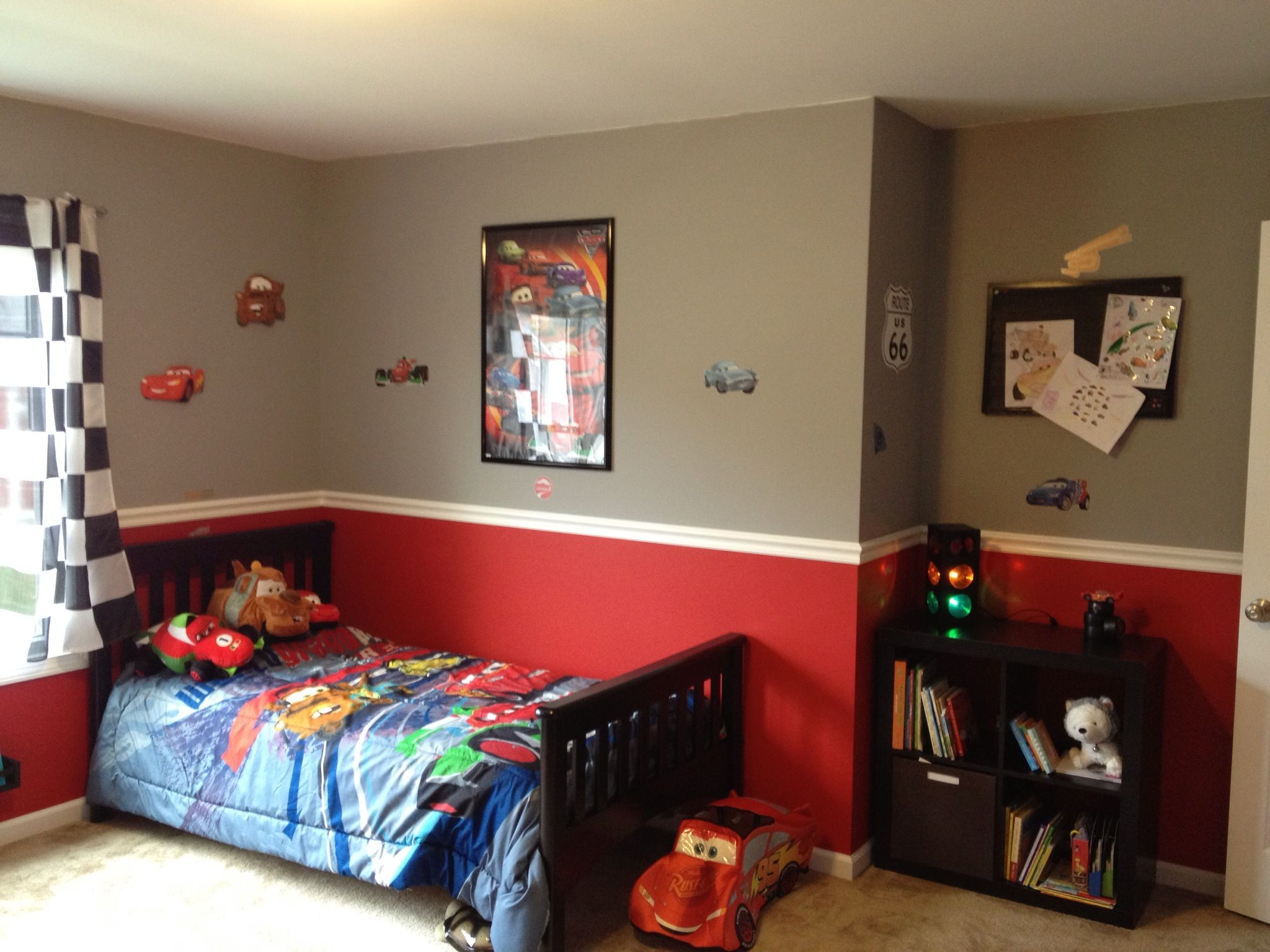 Boys car bedroom ideas - Owen S Cars Themed Room Traffic Light Ikea Cube Shelf