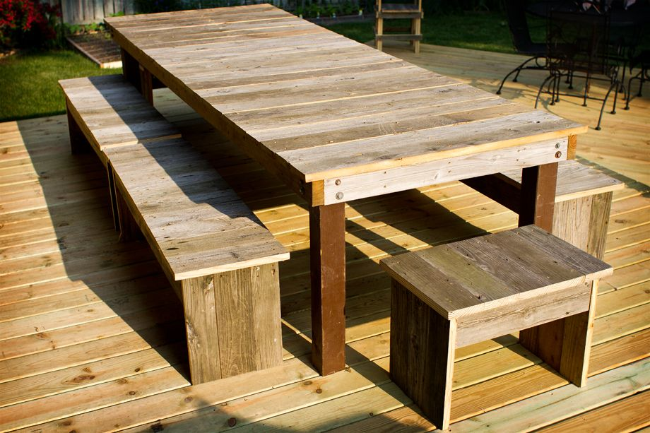 Tremendous Table Benches Made From Old Deck Boards In 2019 Old Wood Gmtry Best Dining Table And Chair Ideas Images Gmtryco