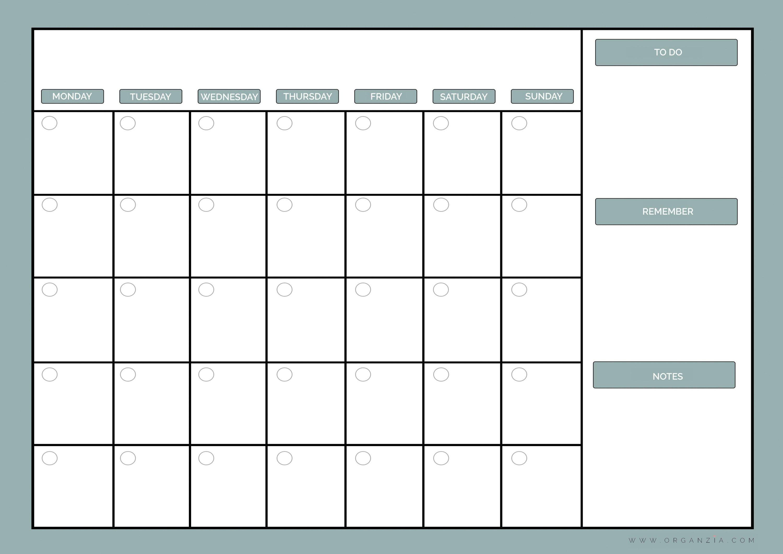 Diy Monthly Planner Dry Erase Calendar Free Printable