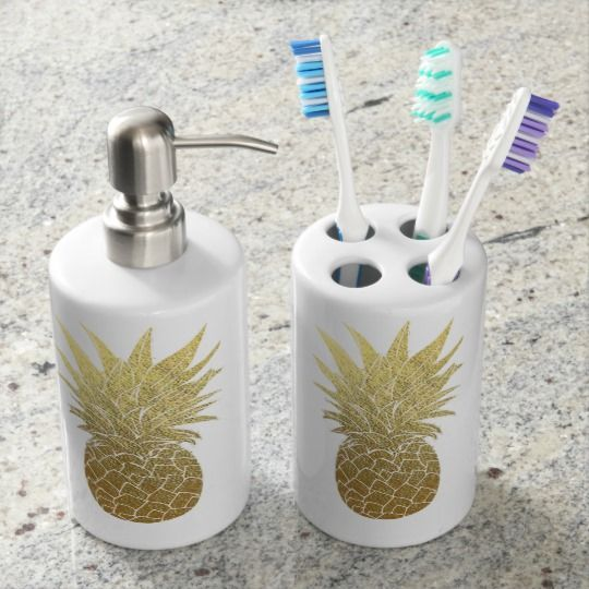 Gold Pineapple Soap Dispenser Tooth Brush Holder Zazzle Com Brushing Teeth Gold Pineapple Pineapple Room