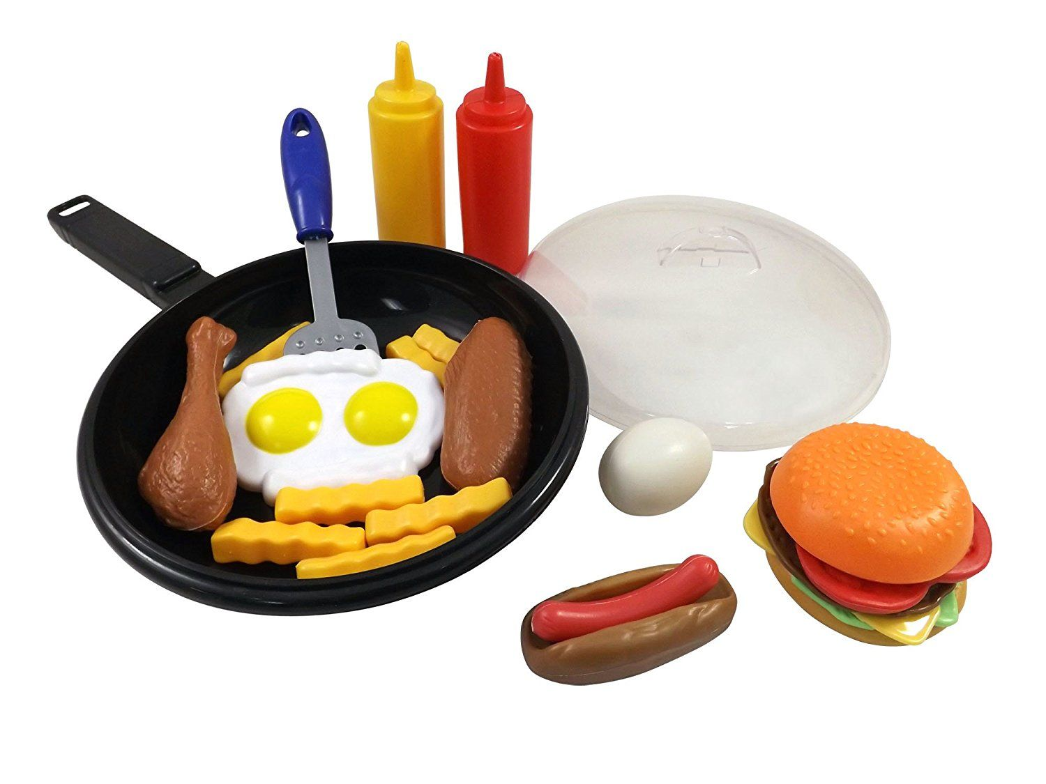 Smile Liberty Imports Fast Food Cooking Pan 25 Piece Kitchen Play Set For Kids