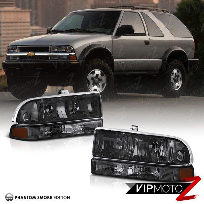 1998-2004 Chevy S10 Blazer GMC Sonoma Pickup Smoke Front Bumper Lights Lamps