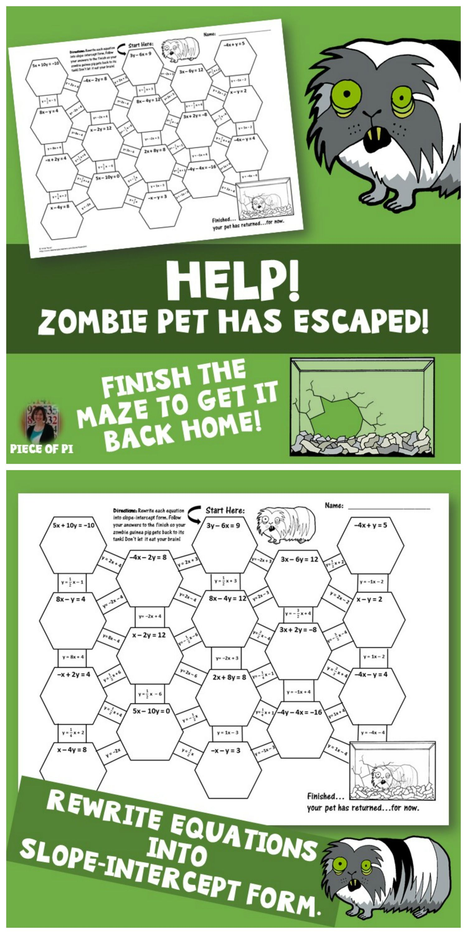 worksheet Slope Intercept Form Worksheets 8th Grade standard to slope intercept form maze zombie theme pet convert equations from into activity theme