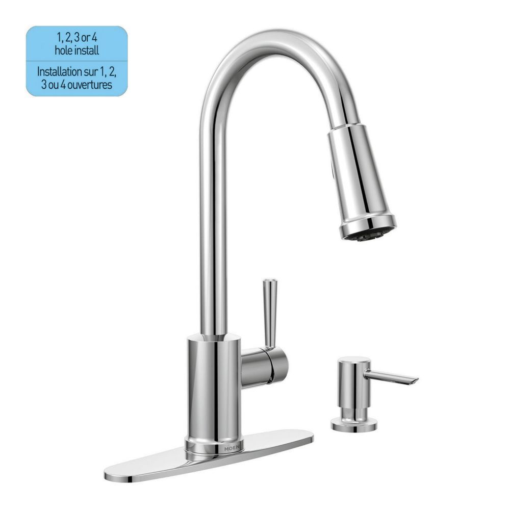 Moen Indi 20 Handle Pulldown Kitchen Faucet with Soap Dispenser ...