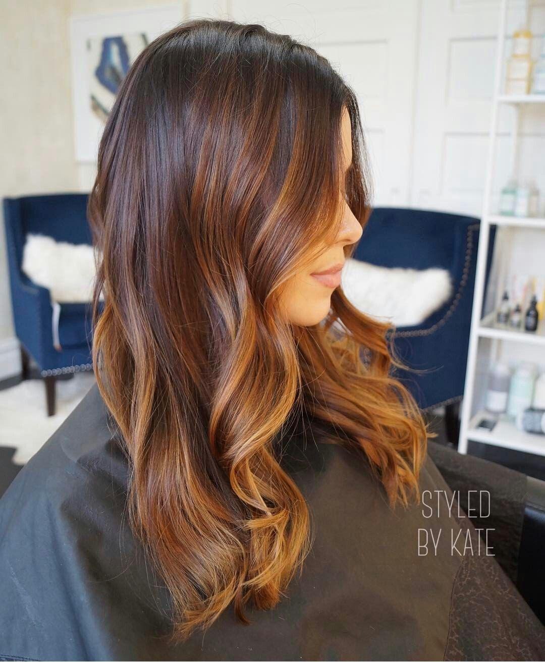 Warm Melt Balayage Black Hair Balayage Long Hair Color Auburn Hair Balayage