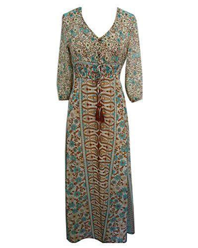 4781c054e57c LaoZan Femmes Robe Bohême Longue Col V Florale Fendue sur Côté Fluide et  Elegante kaki Medium
